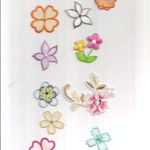 10pc Mixed Flowers Variety Iron on Patch Applique